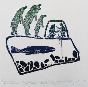 Leah Qumaluk (b.1934 Inuit) ''inuit Fishing As Three