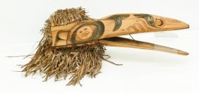 A Northwest Coast Style Raven Mask 30''x39''x9''.