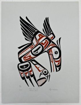 Roy Vickers (b.1946 Tsimshian) ''raven With Clam'' 1975