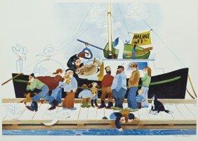 Rie Munoz ''halibut #1'' 1985 Lithograph 15''x20.5''