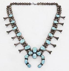 Carl Begay Navajo Silver & Turquoise Squash Blossom