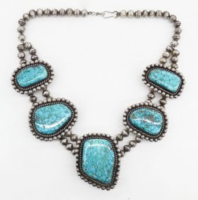 Navajo Silver & Turquoise Choker Necklace 17''. A