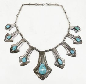Old Rivera's Sterling & Turquoise Necklace 18''. Silver