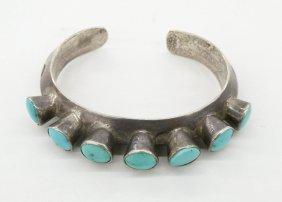 Old Navajo Cast Silver Bracelet 2.25''x2.75''. Heavy
