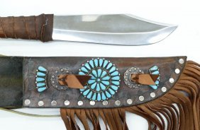 Zuni Silver & Turquoise Sheath Knife 19.5''x3.5''. A