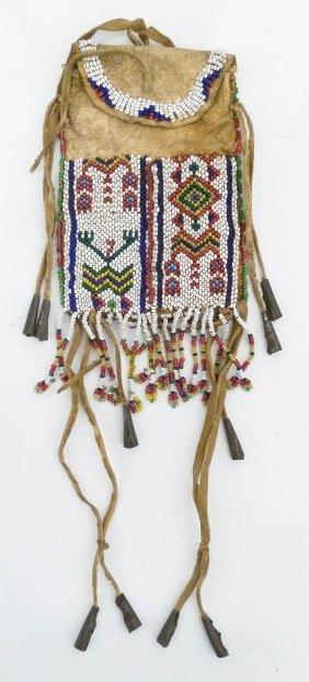 Old Cheyenne Strike-a-lite Beaded Bag 6''x3''.