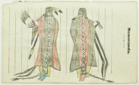 Old Plains Indian Ledger Drawings Framed 17.5''x9.5''.