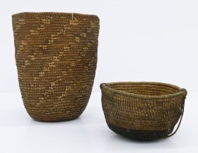 2pc Antique Indian Baskets. Includes A Klickitat Hard B