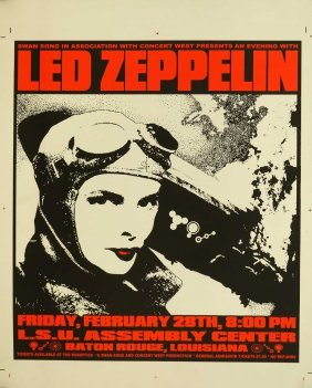 Led Zeppelin Original Printers Proof Concert Poster,