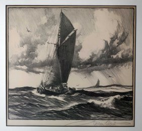 Gordon Grant Signed Original Aaa Etching. Framed, 9'' X