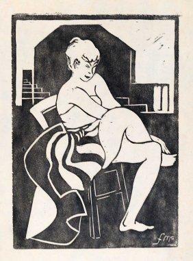 Frances Mcvey (american, Early 20th C.) Linocut