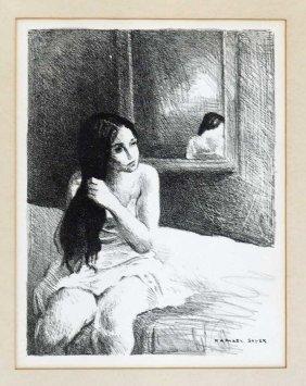 Raphael Soyer (1899-1987) Lithograph