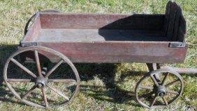 Rare Child's 1880s Wooden Pull Wagon