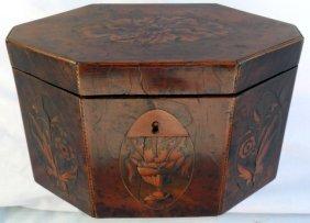 George III Yew Wood Inlaid Tea Caddy