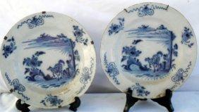 """18th C English Orientalist Delft 9"""" Plates"""