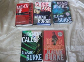 5 AUTHOR HAND SIGNED BOOKS BY ALAFAIR BURKE