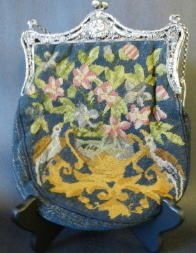 Antique Silver Embroidered Purse