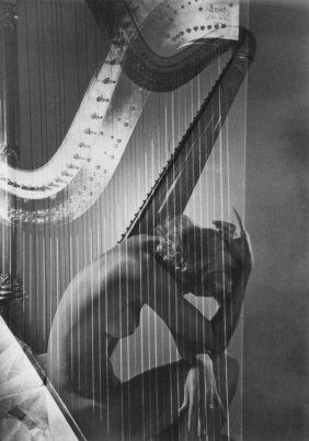 Horst P. Horst - Lisa With Harp - Lg. Photo Gravure