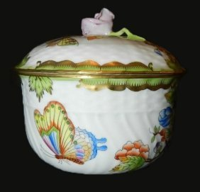 Herend Hand Painted Covered Large Sugar Bowl