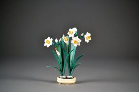 Beautiful Polychromed Ivory Flowers In Pot.  Outsta