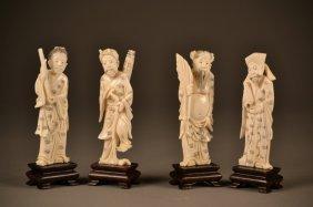 Set Of 4 Ornate Ivory Carved Figures On Wooden Stan