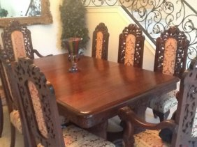 HAND CARVED FRENCH DINING SET,9PC,