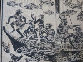 BURMESE ART PIECE,FISHING CREW WITH SHIP