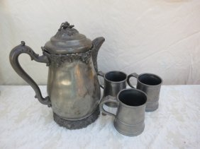 ANTIQUE TANKARD,PEWTER,3 ANTIQUE PEWTER MUGS