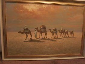 SIGNED SAUDI ARABIAN  SIGNED OIL ON CANVAS,CAMELS