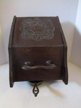 ANTIQUE COAL BOX WITH SCUTTLE,BRASS HANDLE