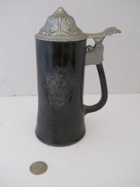 BLACK STEIN WITH PEWTER LID,MARKED