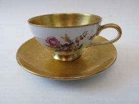 DRESDAN HANGEMALT TEA CUP & SAUCER, GOLD GILT