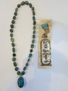 VINTAGE CARVED SCARAB NECKLACE, FAIENCE EGYPTIAN