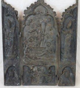 Italian Bronze Religious Triptych Plaque