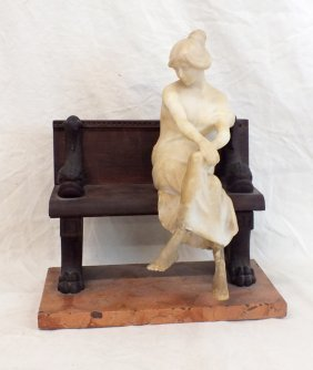 "Art Deco Marble Sculpture ""on The Bench"""