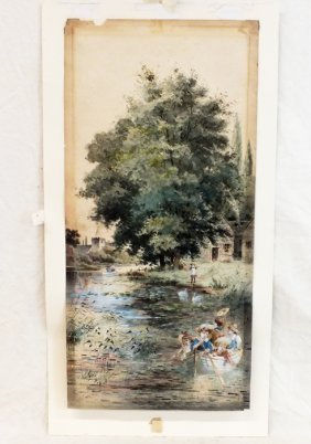 "Wonderful Late 1800's Watercolor ""down The Stream"""