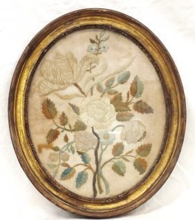 Victorian Needlepoint In Oval Frame