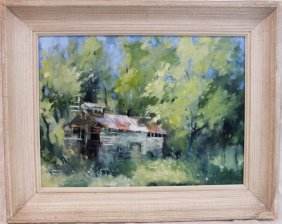 """1923 """"barn In Forest"""" Impressionist Painting Signed P."""