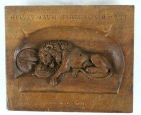 """""""lion Of Lucerne"""" Wood Plaque, Inscribed 1792"""