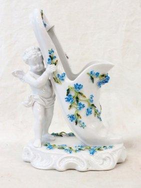 Sitzendorf German Porcelain Planter With Cherub