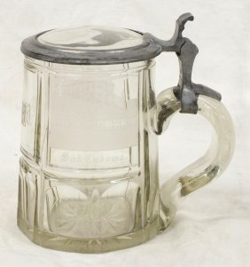 German Glass Beer Stain With Pewter Lid