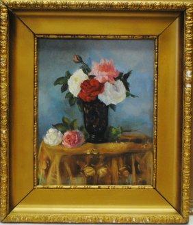 "Pavel Kuznetsov (russian, 1878 - 1968)"" Blue Vase Of Ro"