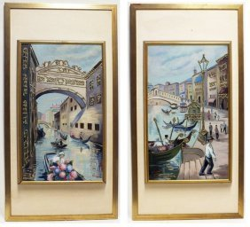 Pair Of Nice Venetian Scenes Paintings