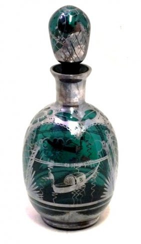 Green Glass Decanter With Silver Overlay