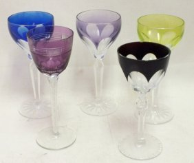 Lot Of 5 Bohemian Cut Glass Goblets