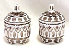 Pair Of Bohemian Cut Crystal Jars