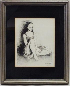 """Moses Soyer (1899 - 1974) """"ballet Dancer"""" Artist Proof"""