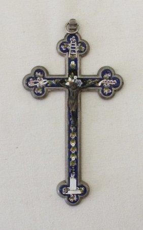 Italian Micromosaic Enameled Cross