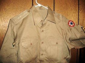 Tan Miltary Shirt W/ Star/Stripe Patch