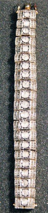 Vermeil Hinged Link Bracelet With 21 Rose Cut Diamonds